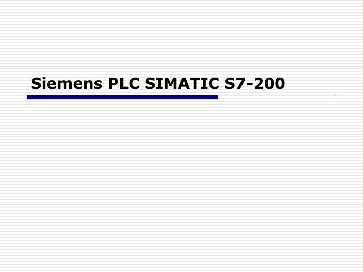 Siemens PLC SIMATIC S7-200