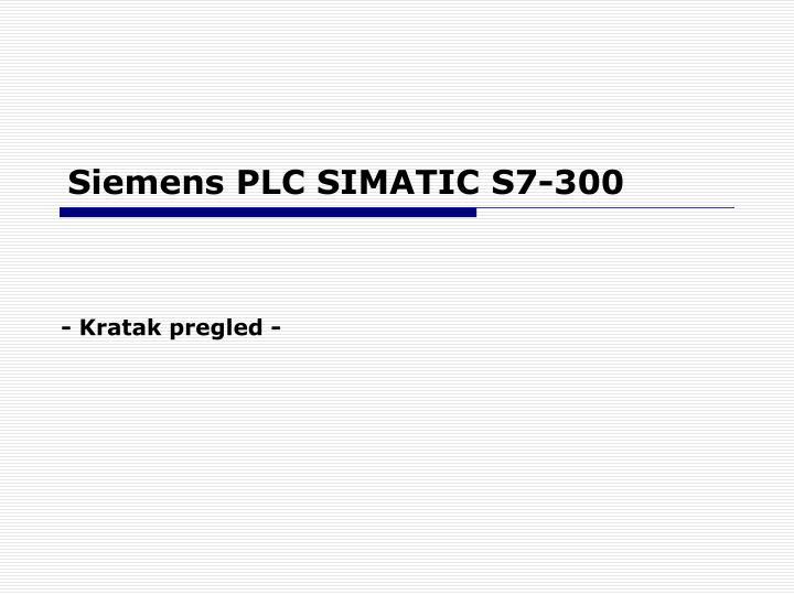 Siemens PLC SIMATIC S7-300