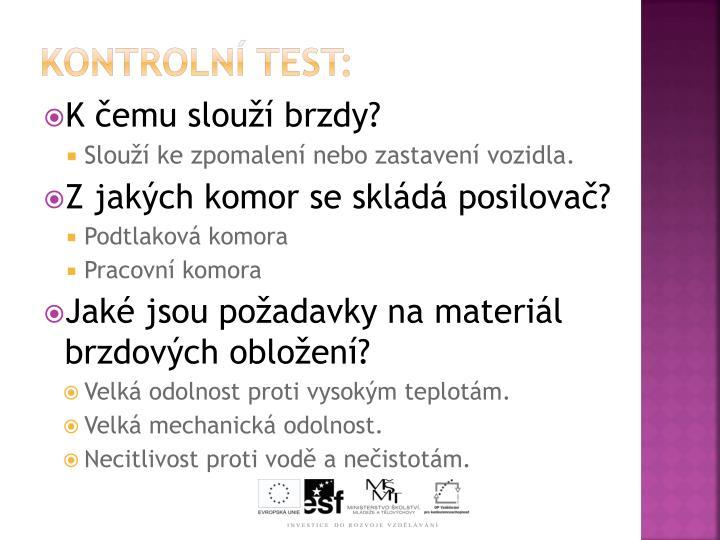 Kontrolní test: