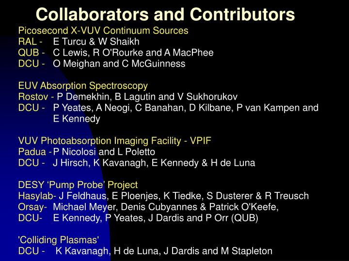 Collaborators and Contributors