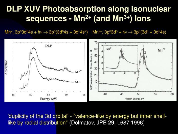 DLP XUV Photoabsorption along isonuclear