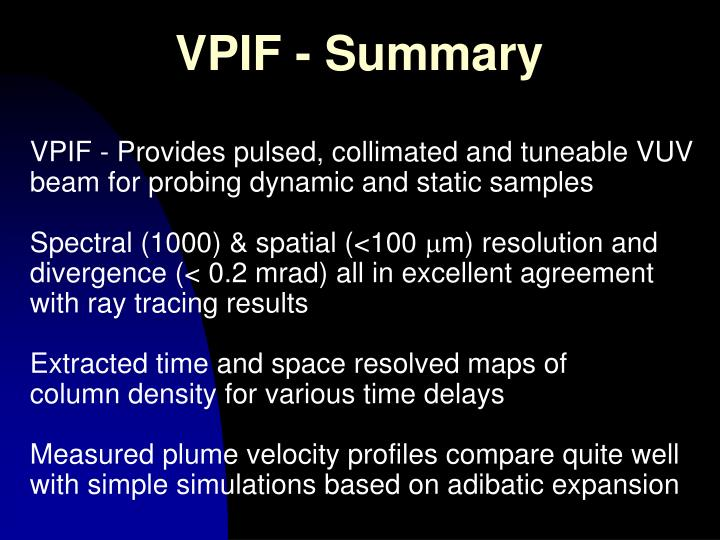 VPIF - Summary
