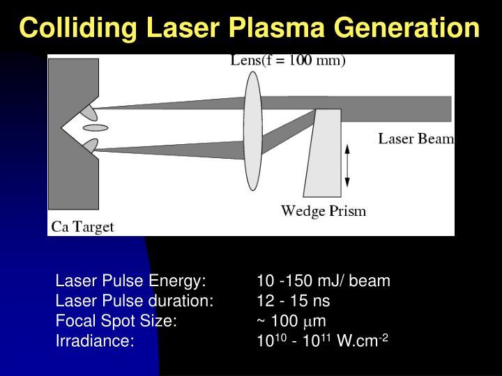 Colliding Laser Plasma Generation