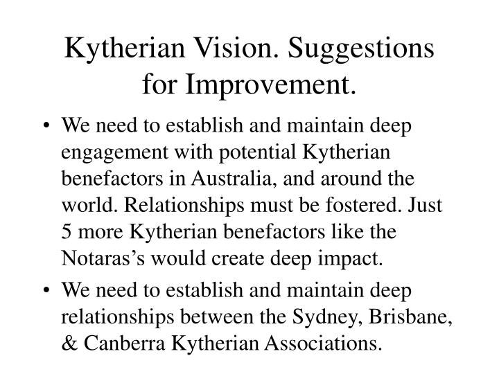Kytherian Vision. Suggestions for Improvement.