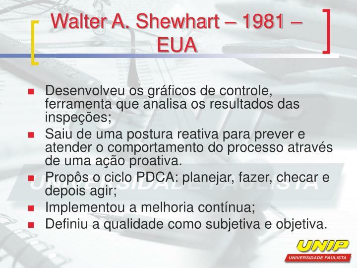 Walter A. Shewhart – 1981 – EUA