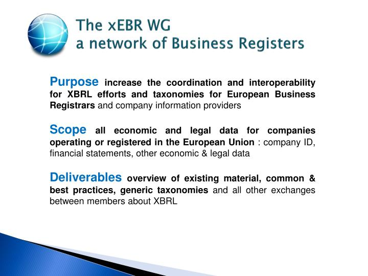 The xebr wg a network of business registers