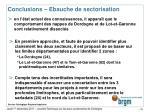 conclusions ebauche de sectorisation