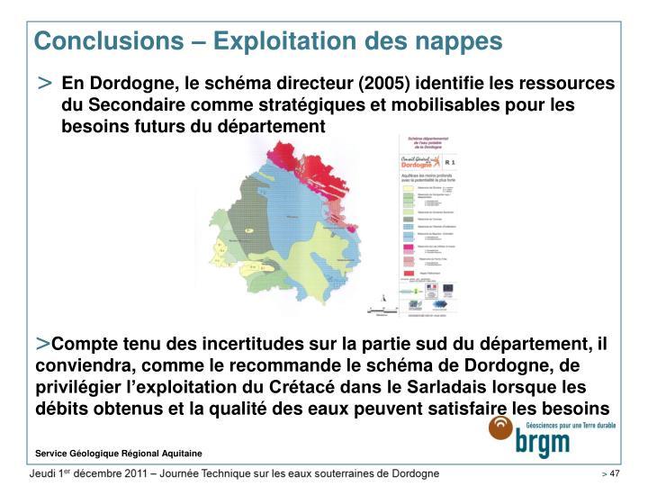 Conclusions – Exploitation des nappes