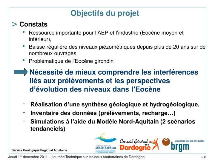 Nécessité de mieux comprendre les interférences liés aux prélèvements et les perspectives d'évolution des niveaux dans l'Eocène