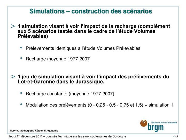 Simulations – construction des scénarios