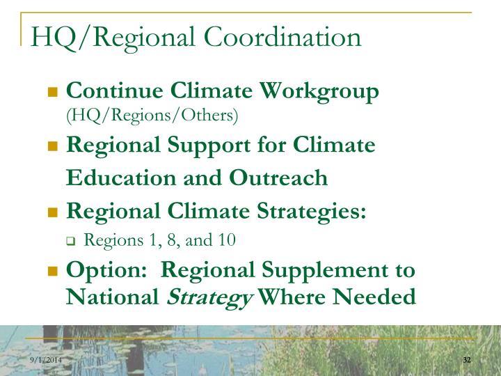 HQ/Regional Coordination