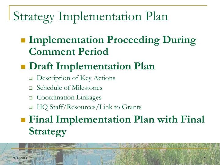 Strategy Implementation Plan