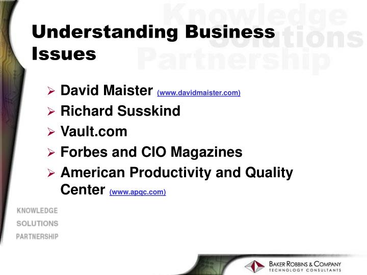 Understanding Business Issues