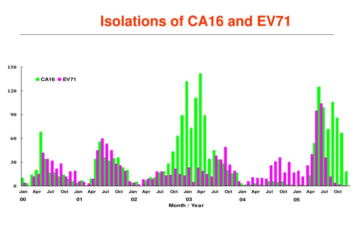 Isolations of CA16 and EV71