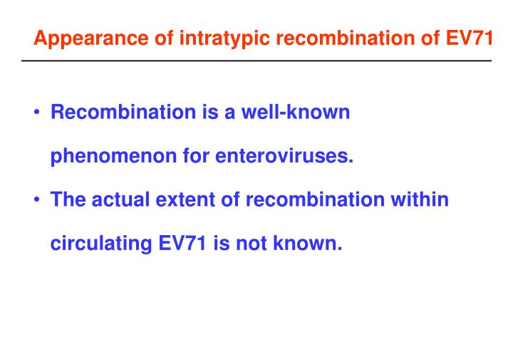 Appearance of intratypic recombination of EV71