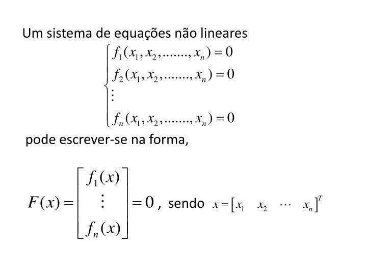 Um sistema de equações não lineares