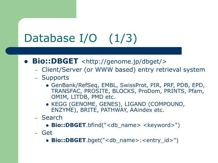Database I/O   (1/3)