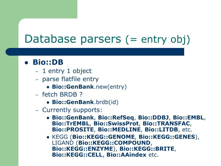 Database parsers
