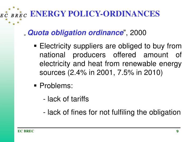 ENERGY POLICY-ORDINANCES
