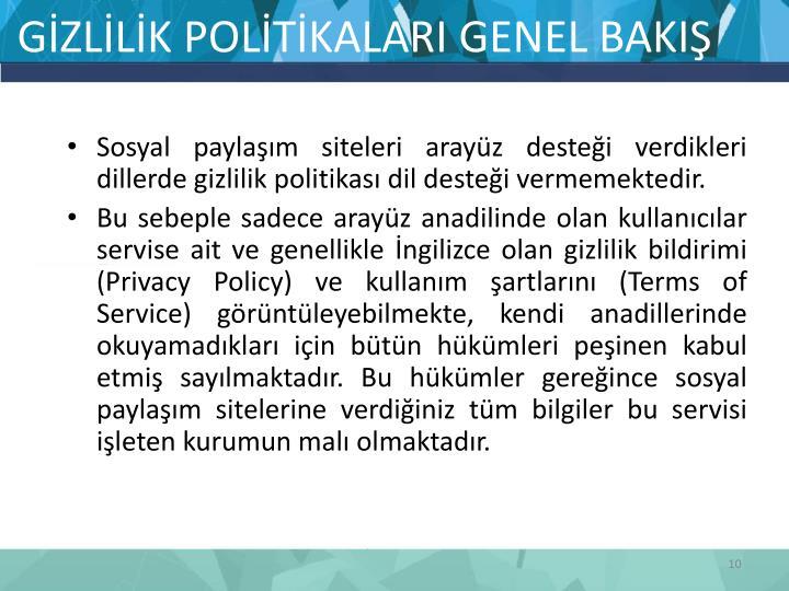 GİZLİLİK POLİTİKALARI GENEL BAKIŞ