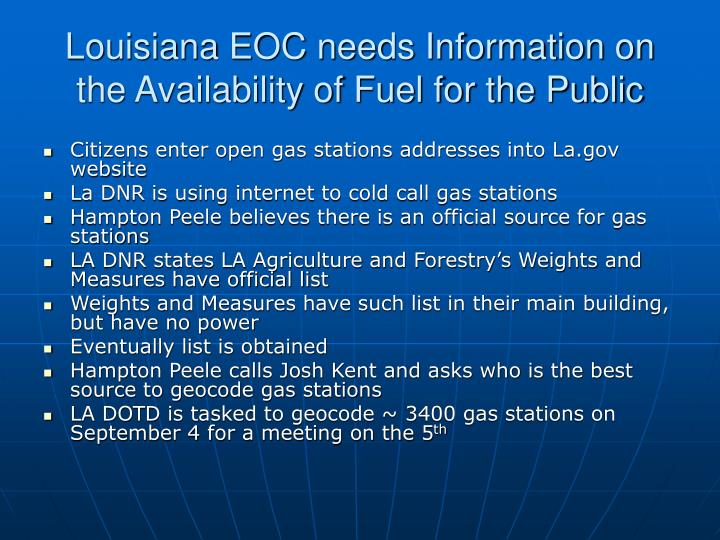 Louisiana EOC needs Information on the Availability of Fuel for the Public