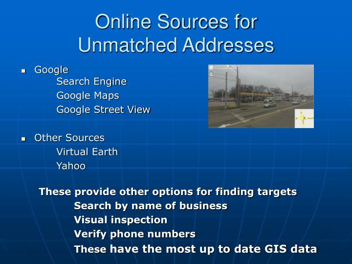 Online Sources for