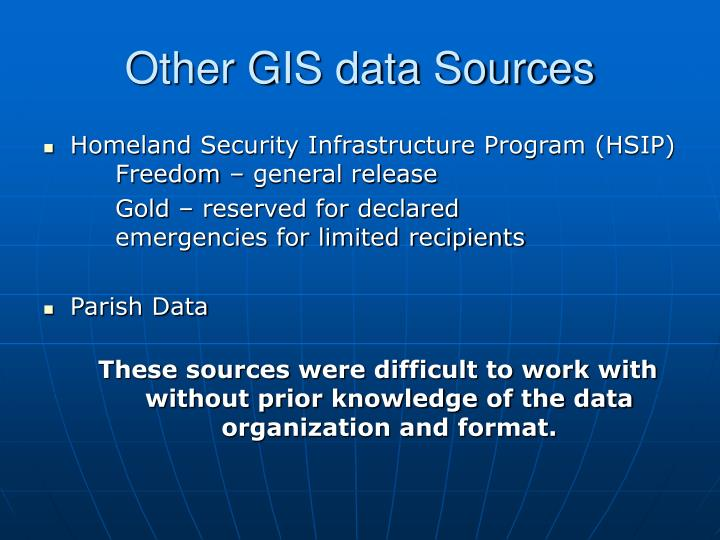 Other GIS data Sources