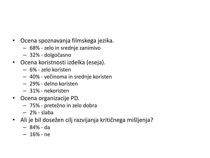 Ocena spoznavanja filmskega jezika.