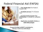 federal financial aid fafsa