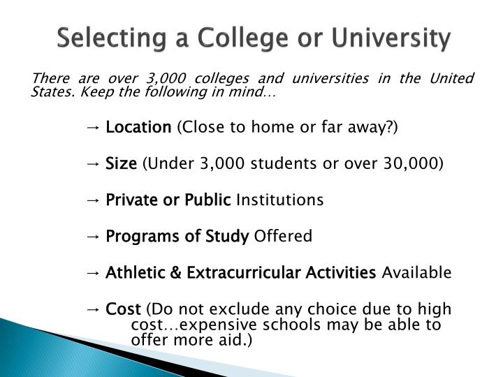 Selecting a College or University