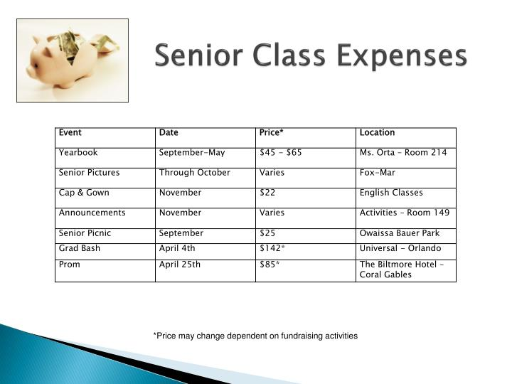 Senior Class Expenses