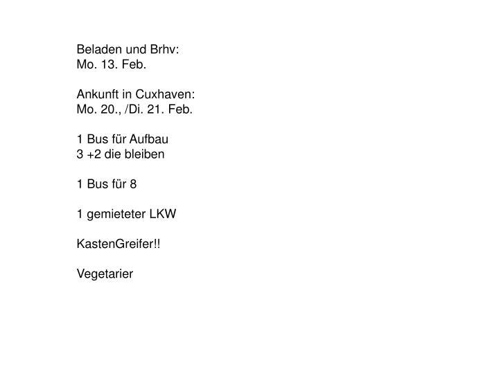 Beladen und Brhv: