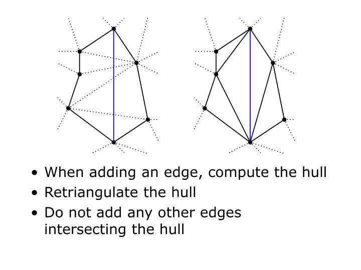 When adding an edge, compute the hull