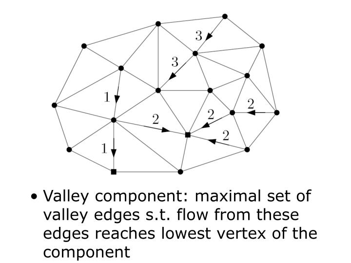 Valley component: maximal set of valley edges s.t. flow from these edges reaches lowest vertex of the component