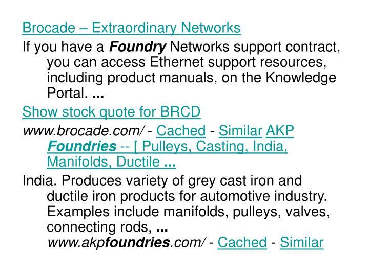 Brocade – Extraordinary Networks