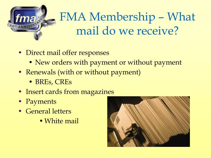 FMA Membership – What mail do we receive?