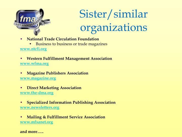 Sister/similar organizations