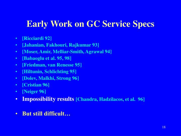 Early Work on GC Service Specs