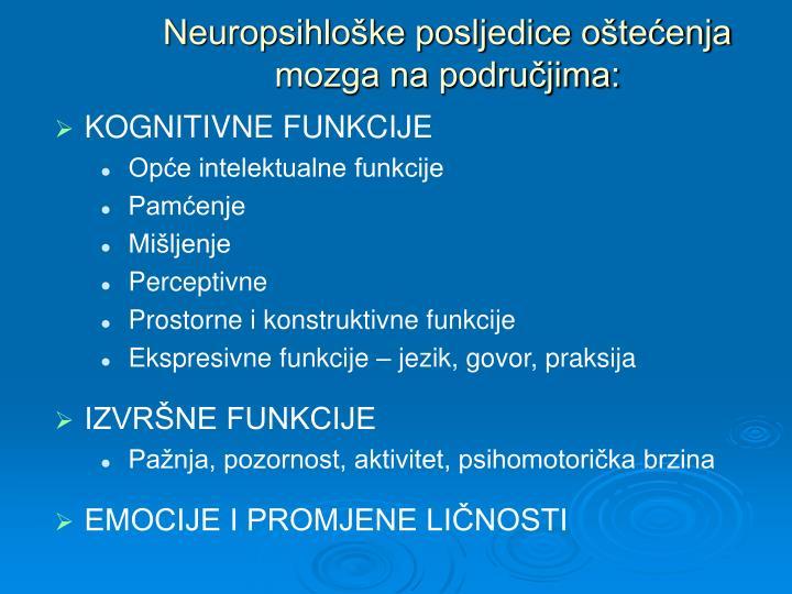 Neuropsihloške posljedice oštećenja mozga na područjima: