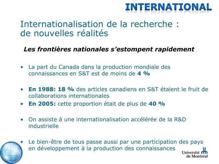 Internationalisation de la recherche : de nouvelles réalités