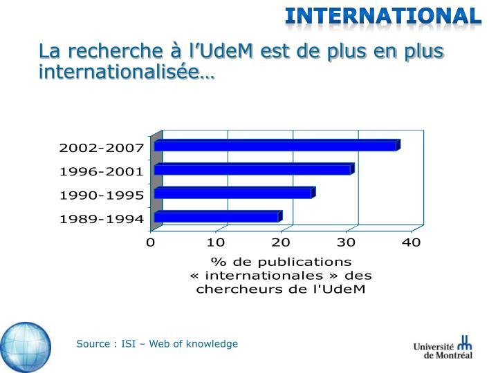 La recherche à l'UdeM est de plus en plus internationalisée…