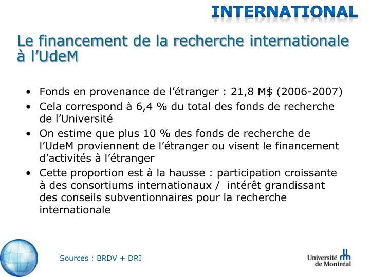 Le financement de la recherche internationale