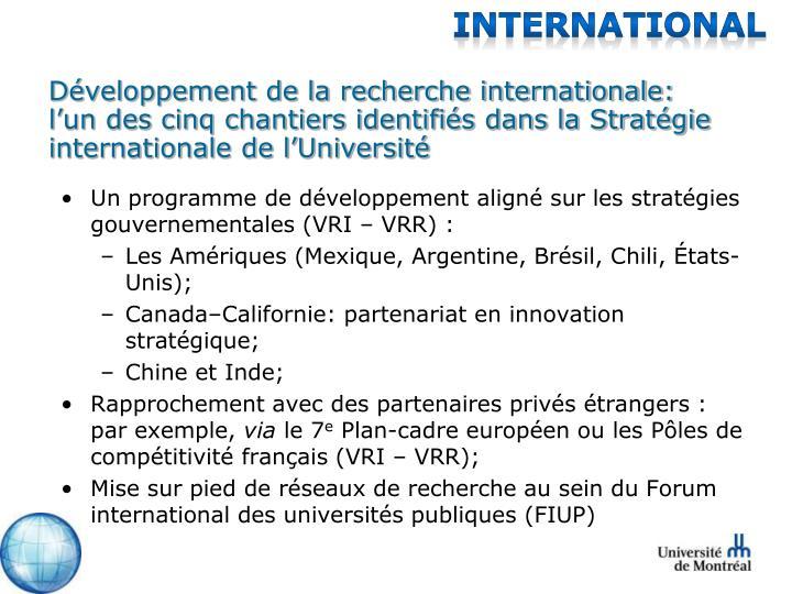 Développement de la recherche internationale: