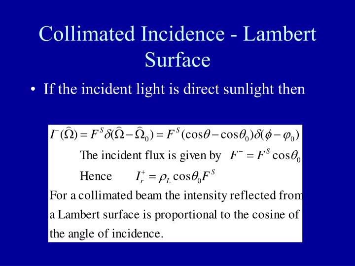Collimated Incidence - Lambert Surface