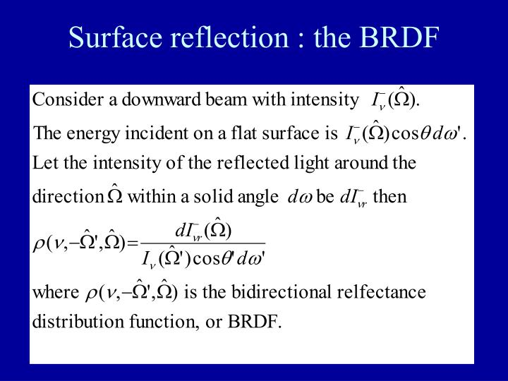 Surface reflection : the BRDF