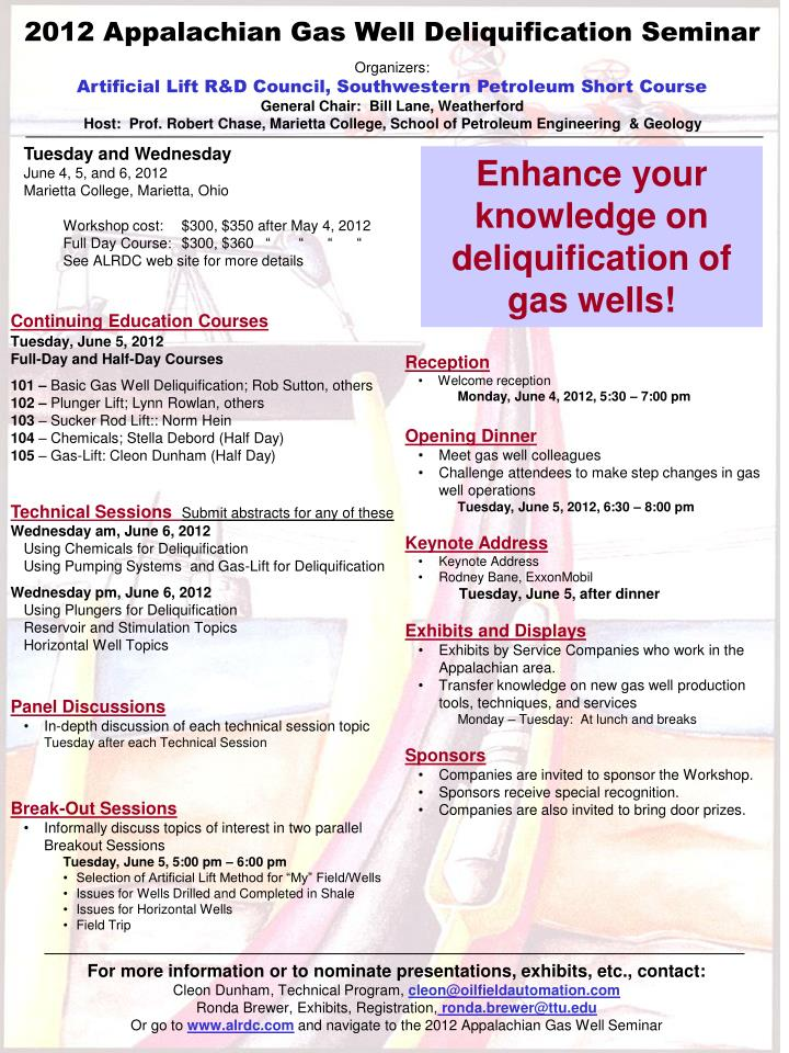 2012 Appalachian Gas Well Deliquification Seminar