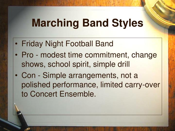 Marching band styles