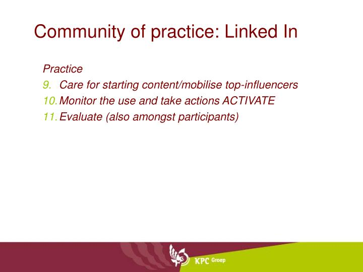 Community of practice: Linked In