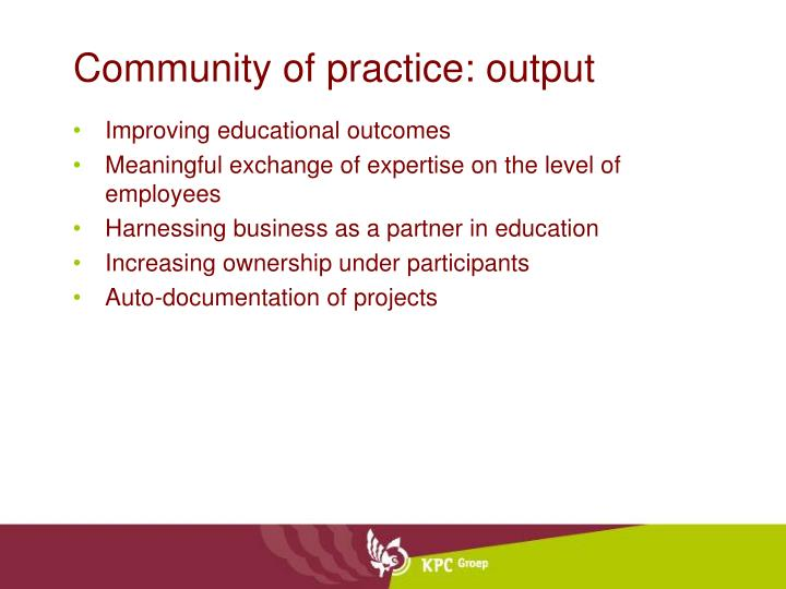 Community of practice: output
