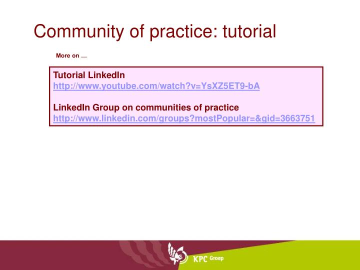 Community of practice: tutorial